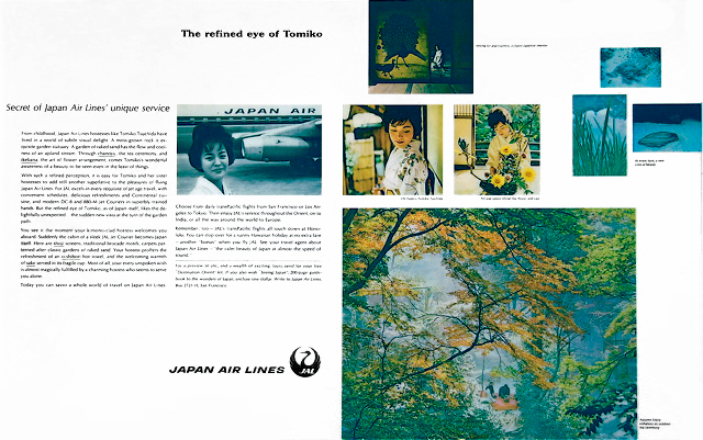 A double page magazine ad appeared in Look, Life, Time, Newsweek and featured a real hostess in full kimono